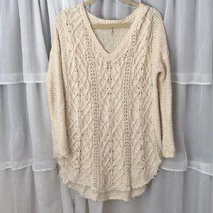 Free People Crochet Braided Knit Sweater